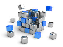 Cube assembling from blocks. 3D Illustration isolated on white Royalty Free Stock Photo