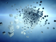 Cube assembling from blocks Stock Images