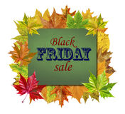 Cube with autumn leaves around and word Black Friday Sale isolated Stock Image