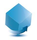 Cube avec la flèche Illustration de Vecteur