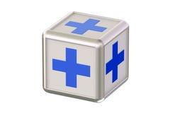 Cube avec les croix bleues Photos libres de droits