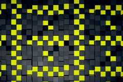 Cube backdrop. Abstract yellow and black cubes backdrop. 3D Rendering Stock Photography