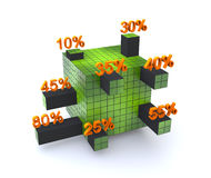 Cube bar graph Stock Images