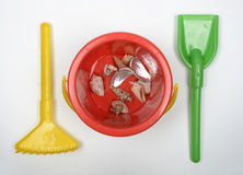 Cube beach rake and shovel Stock Images