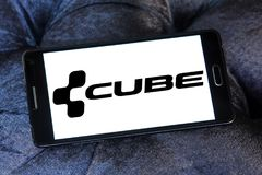 Cube Bikes company logo. Logo of Cube Bikes company on samsung mobile. CUBE is a German bicycle manufacturer that produces many types of bike, but is best known royalty free stock photo