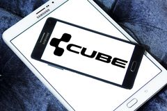 Cube Bikes company logo. Logo of Cube Bikes company on samsung mobile. CUBE is a German bicycle manufacturer that produces many types of bike, but is best known royalty free stock images