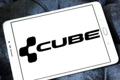 Cube Bikes company logo. Logo of Cube Bikes company on samsung tablet. CUBE is a German bicycle manufacturer that produces many types of bike, but is best known royalty free stock photo