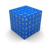 Cube with binary code. 3d technology blue cube with  binary code Royalty Free Stock Image
