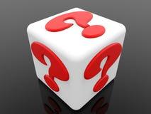 Cube blanc avec le concept rouge de point d'interrogation sur le fond noir illustration de vecteur
