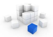 cube blanc bleu en affaires 3d Photos stock