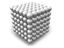 Cube blanc de sphères d'isolement sur le blanc Photographie stock