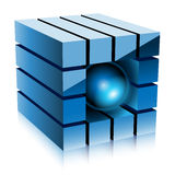 Cube bleu Images libres de droits
