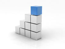 Cube bleu Photographie stock