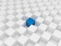 Cube bleu différent Images libres de droits