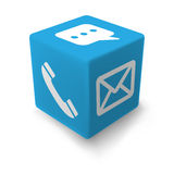 Cube BLEU en contact Photo stock