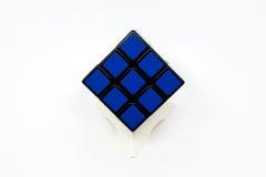 Cube bleu en Rubik Photo libre de droits