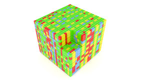 Cube from blocks Royalty Free Stock Images