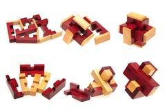 Cube blocos de madeira do enigma para aumentar habilidades e aprendizagem Foto de Stock Royalty Free