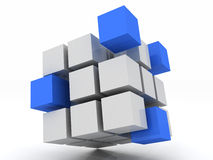 Cube blue assembling from blocks. On a white background Stock Photos