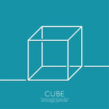 Cube on a blue background. 3d cube on a blue background. geometric figure. Outline. minimal. abstract background Royalty Free Stock Photos