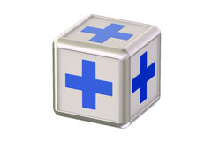 Cube with blue crosses Royalty Free Stock Photos