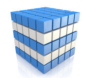Cube blue white. For design information related to the economy and abstraction Royalty Free Stock Photo