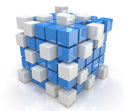 Cube blue white. For design information related to the economy and abstraction Royalty Free Stock Image