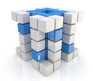 Cube blue white. For design information related to the economy and abstraction Royalty Free Stock Photography