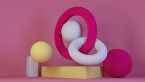 Cube-box pink marble set minimal cream background 3d rendering Stock Photos