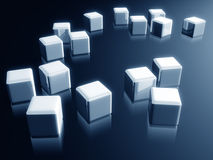 Cube box with reflection decorative design element. 3d illustration Royalty Free Stock Image