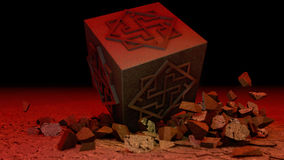 The cube breaks concrete Stock Photography
