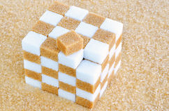 Cube of brown and white sugar cubes. Cube of brown sugar cubes stock photos