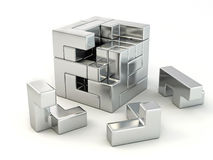 A cube built from blocks. Puzzle stock illustration