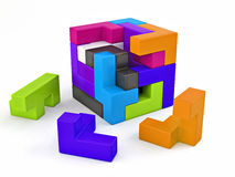 A cube built from blocks. Puzzle Stock Images