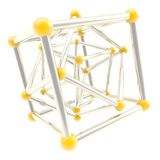 Cube carcass framework composition abstract background. Cube carcass yellow plastic and chrome metal framework composition isolated on white as scientific Vector Illustration