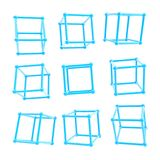 Cube carcass framework in nine foreshortenings isolated Stock Photography
