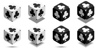 Cube with card club in black and white colors, vector icon of playing club. Cube with card club in black and white colors, isometric cube with card suit on sides Royalty Free Stock Photography