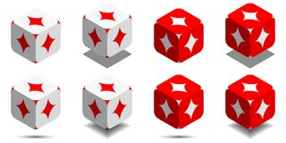 Cube with card diamond in red and white colors, vector icon of playing diamond. Cube with card diamond in red and white colors, isometric cube with card suit on Royalty Free Stock Image