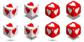 Cube with card heart in red and white colors, vector icon of playing heart. Cube with card heart in red and white colors, isometric cube with card suit on sides Royalty Free Stock Images