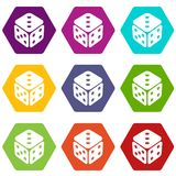 Cube casino icons set 9 vector. Cube casino icons 9 set coloful isolated on white for web Royalty Free Stock Photo