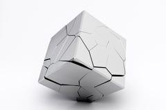 Cube cassé argenté Photographie stock