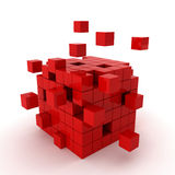 Cube chaos. 3d render on white Royalty Free Stock Photos