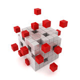 Cube chaos. 3d render on white Stock Photos