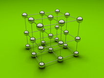 Cube with chrome balls Stock Photography