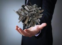 Cube city text over businessman Stock Photos