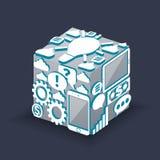 Cube of cloud computing schema concept Stock Photos