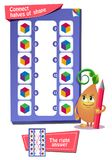 Cube in color game for kids. Educational game for kids. development of logic, iq. Task game connect halves of shape Royalty Free Stock Photos