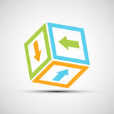 Cube with colored arrows. Vektor icon. Cube with colored arrows Stock Photography