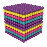 Cube of colored balls. A bright toy. 3D rendering. royalty free illustration