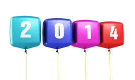 Cube colorful balloons New Year 2014. Render (isolated on white and clipping path Stock Photos